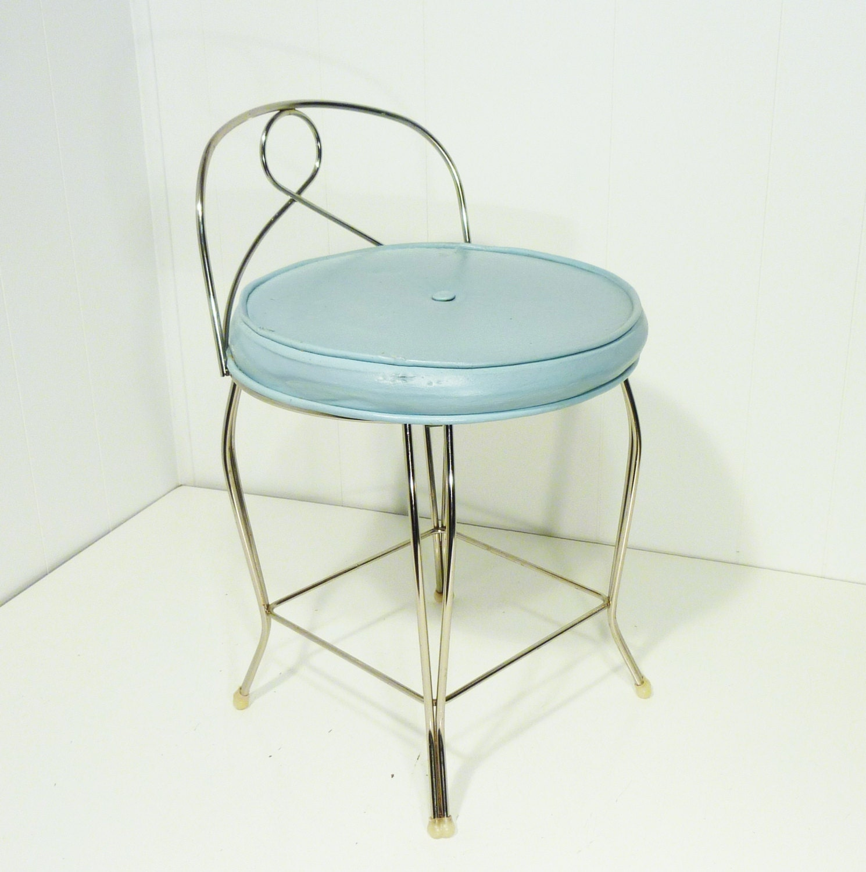 George Koch Ladies Vanity Stool Chair Robins Egg Blue 60s
