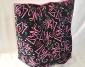 Love Tote Bag, Cloth Purse, Graffiti, Handmade Handbag, Fabric Bag, Black, Pink, Flowers, Shoulder Bag, Fabric Purse