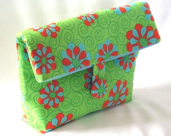 Green Cosmetic Bag, Makeup Bag, Purse Organizer, Clutch Purse, Fabric Bag, Handmade Bag, Floral, Toiletry Bag