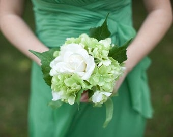 Custom Real Touch Hydrangea Rose Bridesmaid Bouquet