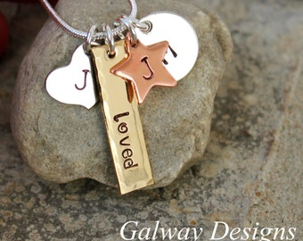 Mothers CHARM Necklace - hand stamped charms