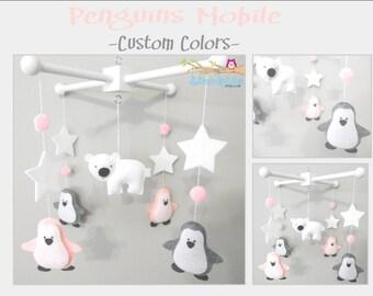 Baby Crib Mobile-Penguins Mobile-Polar Bear Mobile-Artic/Antartic Crib Mobile-custom Made Mobile