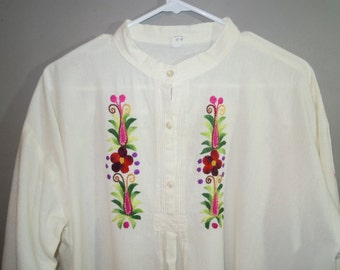 BOHO // Muslin Shirt // Embroidery // Pin Tuck // Hippy // High Collar...XL
