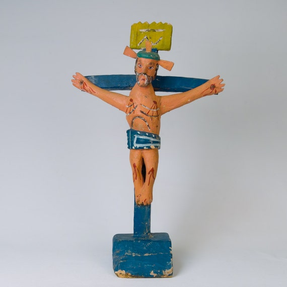 Vintage Carved Wood Mexican Religious Folk Art Cross Crucifix