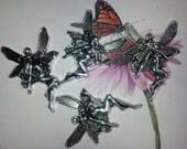 4  Large ' Fairy' Tibetan Silver Charms