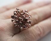 Metallic Copper Czech Glass Droplet Ring