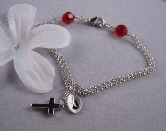 Cross, Silver, Tiny Cross, Ruby, Birthstone , Silver Bracelet, Holiday Gift, Religious, Personalized, Initial Silver Leaf