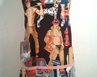 Firemen Pinup Hunk Men's BBQ Apron - Get out the hose