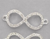 """2 Rhinestone BRIGHT SILVER INFINITY Connector Charms 1-5/8"""" long . chs0412"""