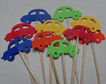 24 Car Party Picks - Cupcake Toppers - Food Picks