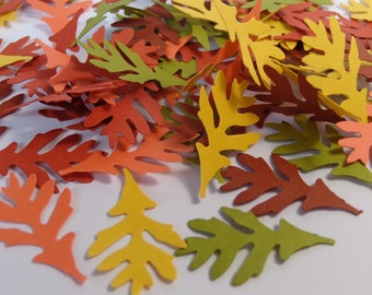 100 Autumn Oak Leaf Die Cuts Paper Punches Scrapbooking Embellishments Confetti