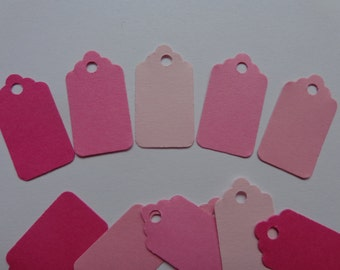 100 Mini Mixed Pink Scalloped Price Tags with Holes