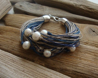 Natural linen bracelet / pearl bracelet / dark blue / taupe / blueberry / eco friendly jewelry / summer bracelet