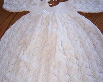 New Hand Knit Christening Gown Set