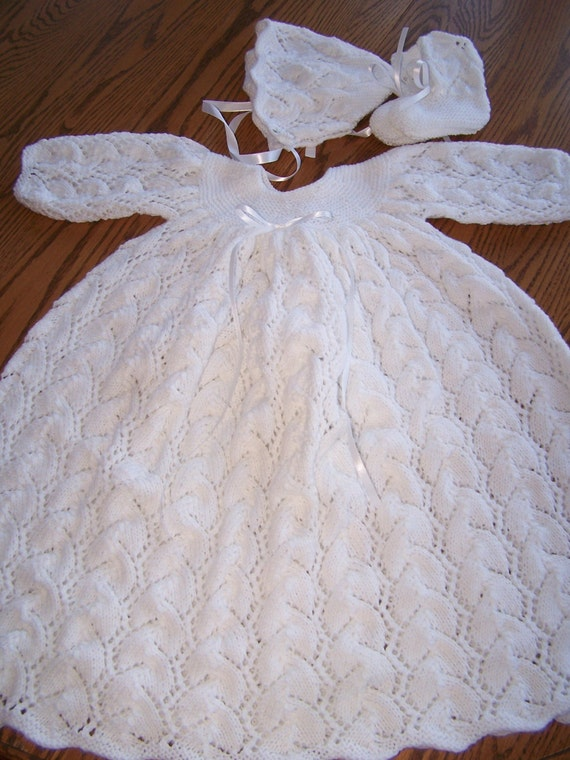 Christening Gown Knitting Patterns : New Hand Knit Christening Gown Set