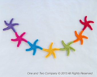Garland of Colorful Starfishes - PDF Crochet Pattern PHOTOTUTORIAL - Instant Download - Home Decor Crochet Garland Christmas Ornament