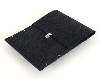 MacBook 13 RETINA sleeve cover grey industrial felt briefcase handmade by SleeWay Studio