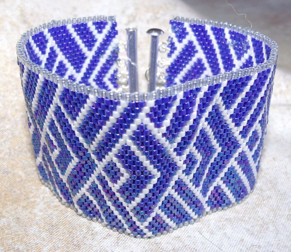 Sashiko style bead embroidered bracelet japanese