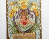 Beautiful Antique Valentines Day Postcard