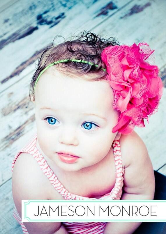 NEW - Hot Pink X-Large Shabby Chic Chiffon & Lace Flower on Skinny Lime Stretch Headband - Valentine's, Summer, Spring, Birthday