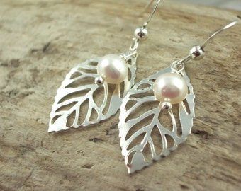 silver leaf earrings, white pearl bridal jewelry, delicate lightweight wedding gifts