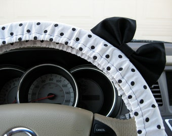 Steering Wheel Cover Bow, Black and White Polka Dot Steering Wheel Cover with Black Bow, Polka Dot Wheel Cover and Black Bow BF11016