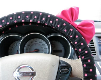 Steering Wheel Cover Bow, Small Black and Pink Polka Dot Steering Wheel Cover with Brink Pink Bow BF11235