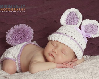 Newborn Bunny Hat, Easter Hat, Diaper Cover, Newborn Bunny Hat, Baby Bunny Hat, Newborn Photo Prop, Infant Crochet Hat, Newborn Rabbit Hat