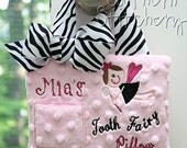 Tooth Fairy Pillow for Girls Personalized Zebra Tooth Pillow Gift Birthday Gift Customized to your child