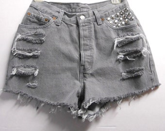 28 inch waist.........Vintage High Waisted Gray LEVIS  Denim Shorts -Studded