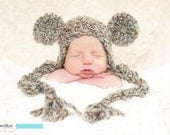 Ready To Ship 0-3 mos Newborn Teddy Bear Earflap Beanie Photography Prop Baby Boy or Girl in Driftwood brown green blue with tassels
