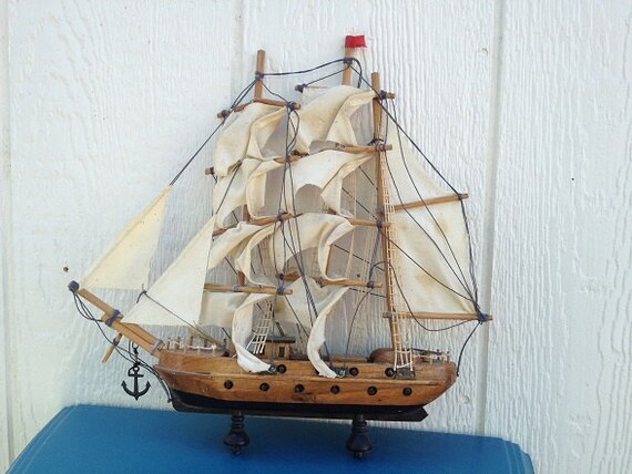 50 % SALE- Vintage Nautical Model Sailboat Mayflower Ship-American History-Crazyadsteam