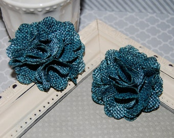 Flax Fabric Flowers - Still Blue linen Burlap fabric flowers (2 pcs) - use for headbands - hair hat shoe clips  rustic vintage decorations