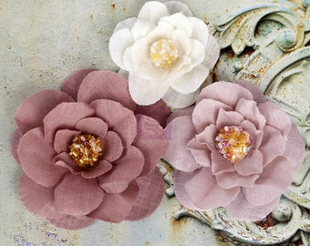 Rose Pink Mauve White  Fabric flower - Prima Akran naturals 567040 (3 pcs) Soft Layered Fabric Flowers w/ Beaded Cluster vintage style