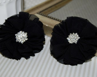"set of two Black Chiffon Flowers 2.5"" Shabby Fabric flowers ballerina flowers rhinestone flowers headband flowers Candace wholesale flowers"