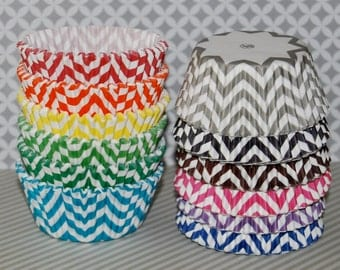 Chevron cupcake liners - 80/120 Ct. - baking cups muffin cups standard size grease proof cupcake cups cupcake wrappers - YOU PICK COLORS