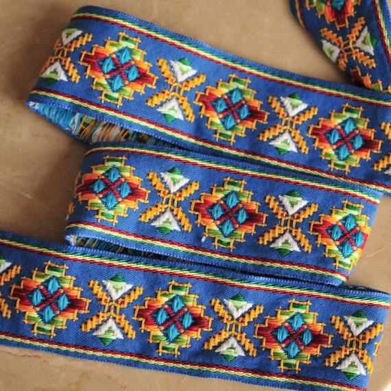 Jacquard Trim Ribbon Blue Pattern Folk Country- 3.7 Yards