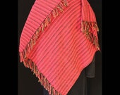 Handwoven V-Back Shawl in Red