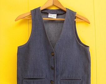 Vintage Vest/Jean Vest/Denim Vest/Vintage Clothing/70s Clothing/Hippie Clothing/Ship n Shore/Boho Vest/Boho Fashion/Inner Visions
