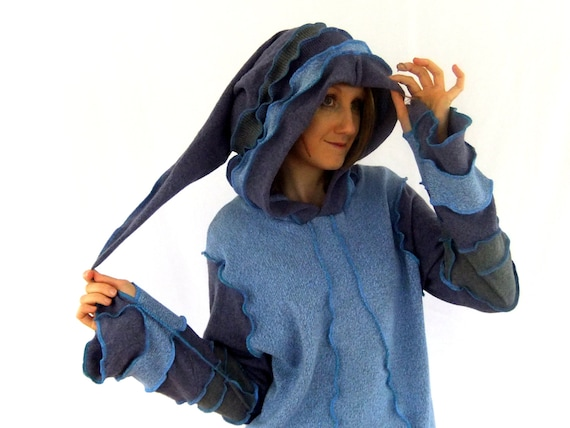 Lilacand blue pixie hoodie - XL - Ooak - Ready to SHIP