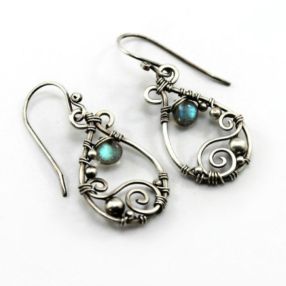 Labradorite and sterling silver earrings, handmade with natural gemstones