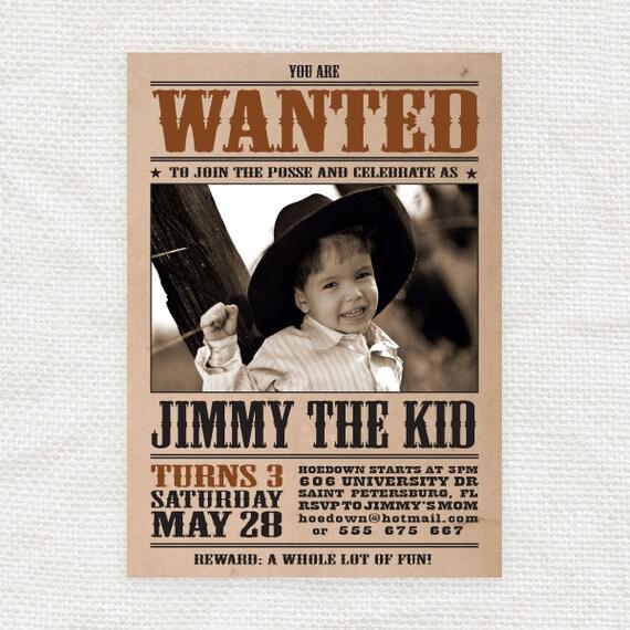 wanted poster kids birthday invitation diy printable by iDIYjr