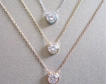 Solitaire Diamond Necklace - Diamond Necklace - Floating Diamond - Gold Necklace - Silver Necklace