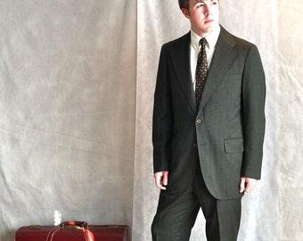 Mens Suit 1960's 40Long MidCentury Deep Green Pinstripe Sport Coat Trousers Size 32L Vintage Mid Century Menswear Mad Men Era Tall Mans Suit