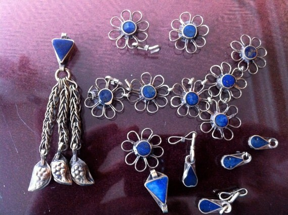 Afghani silver and lapis blue pendant and chain peices