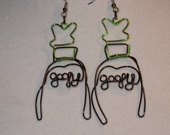 Wire Wrapped GOOFY Spelled Goofy Earrings