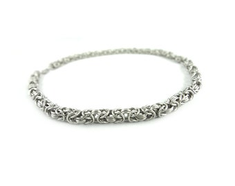 Stainless Steel Necklace - Byzantine Weave Chainmaille - Small