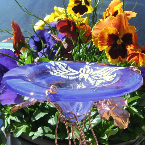 Glass GARDEN STAKE, Dragonfly, BUTTERFLY Feeder, Bird Feeder, smoky violet, stained glass, copper