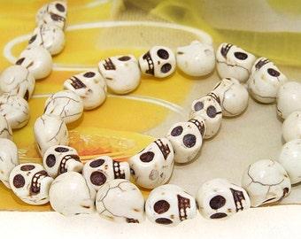 """12mm gemstones Loose White  Turquoise skull beads stone FULL STRAND 16"""""""
