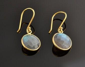 Dangle Earrings - Drop Earrings - Labradorite Earrings - Gold Earrings  - Bridesmaid Gift -Bezel Set Earrings